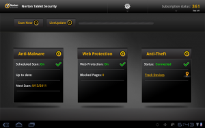 Norton Tablet Security. Bild: Symatec