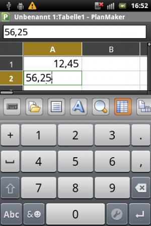 Abbildung 6: In der Tabellenkalkulation PlanMaker bleibt die Eingabe trotz der eingeblendeten Tastatur komofortabel und einigermaßen übersichtlich.
