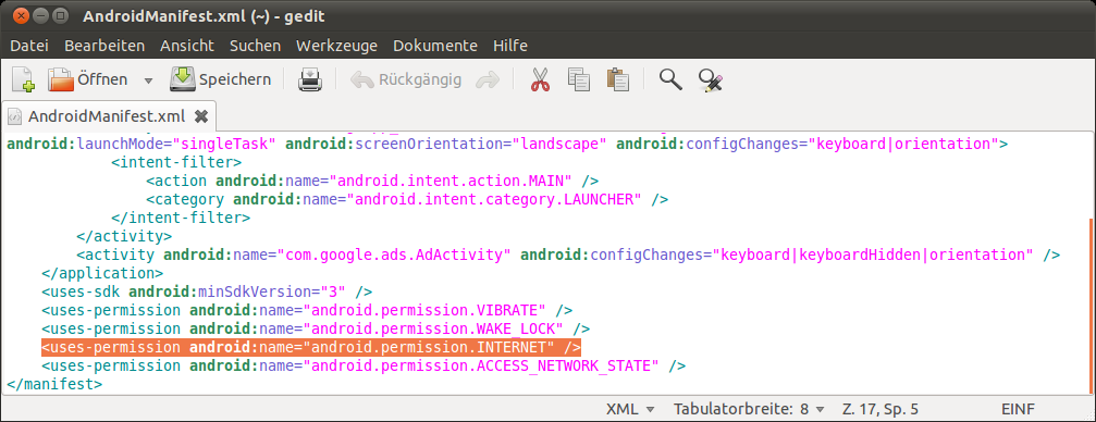 how to add internet permission in android