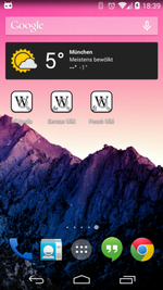 Shortlinks zur Wikipedia als Widget auf dem Homescreen.