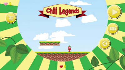 Das Hauptmenü von Chili Legends: Von hier startest du zur nächsten Mission, kannst im Shop Waffen und Rüstungen kaufen und gelangst in die Einstellungen.