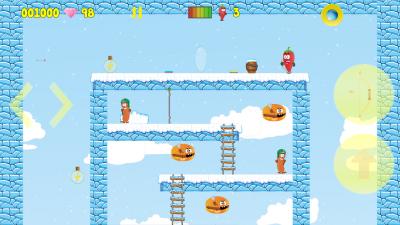 In der Winterwelt hat man einen Bogen zur Verfügung und kämpft gegen Bratwürste und Cheeseburger.