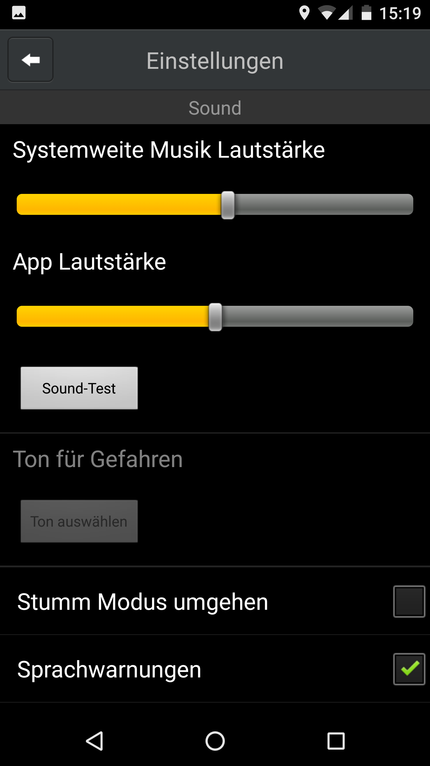 Android App Warnung