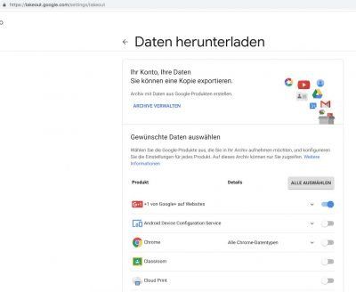 Google Takeout | Android-User.de